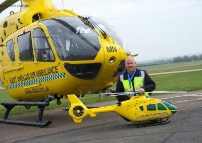 Brett Houghton with East Anglian Air Ambulance model